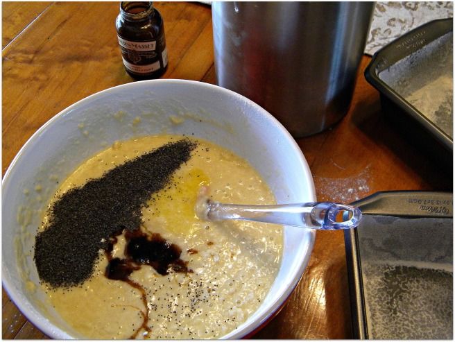 mixing poppy seed bread
