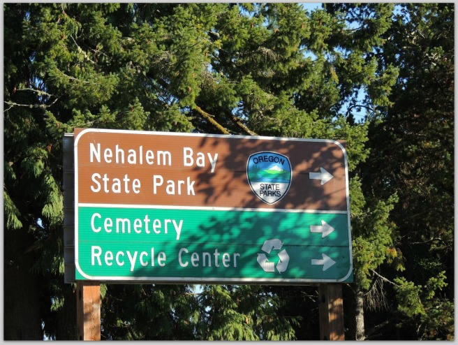 We found this sign so funny we had to take a picture!  Were you looking for the Cemetery Recycle Center?