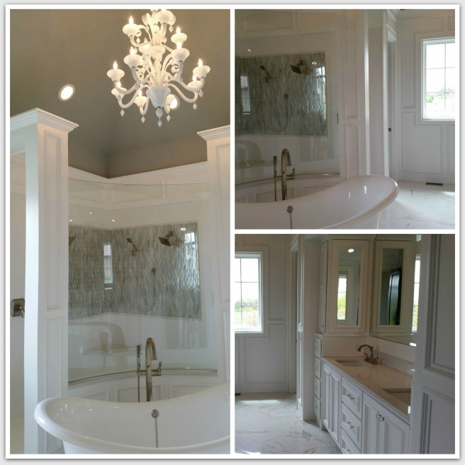 I love the clean feel of this white bathroom, and the tile and fixtures were beautiful!