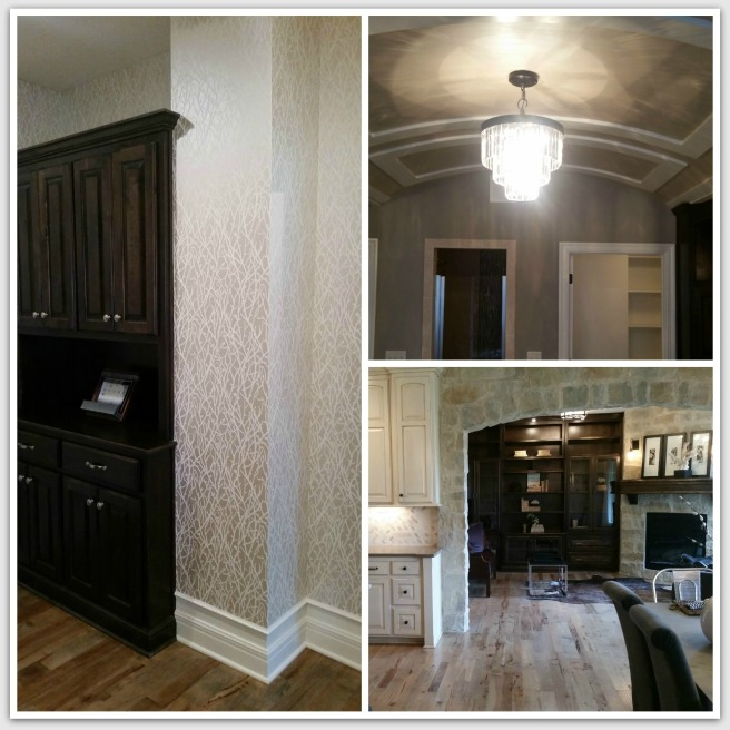 Beautiful neutral pattern hall wallpaper, stunning curved bathroom ceiling and cozy den off of stone kitchen