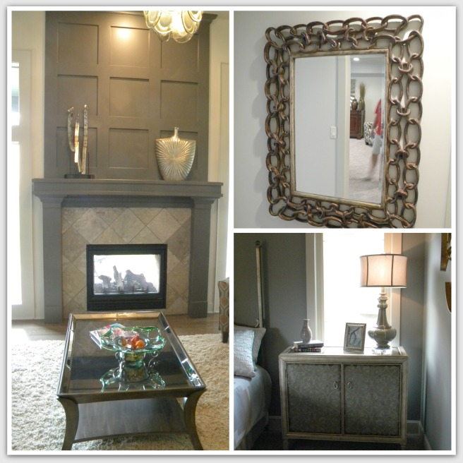 This fireplace was visible from both the inside and the outside of the home!  I also liked this mirror and the finish on these dresser doors.