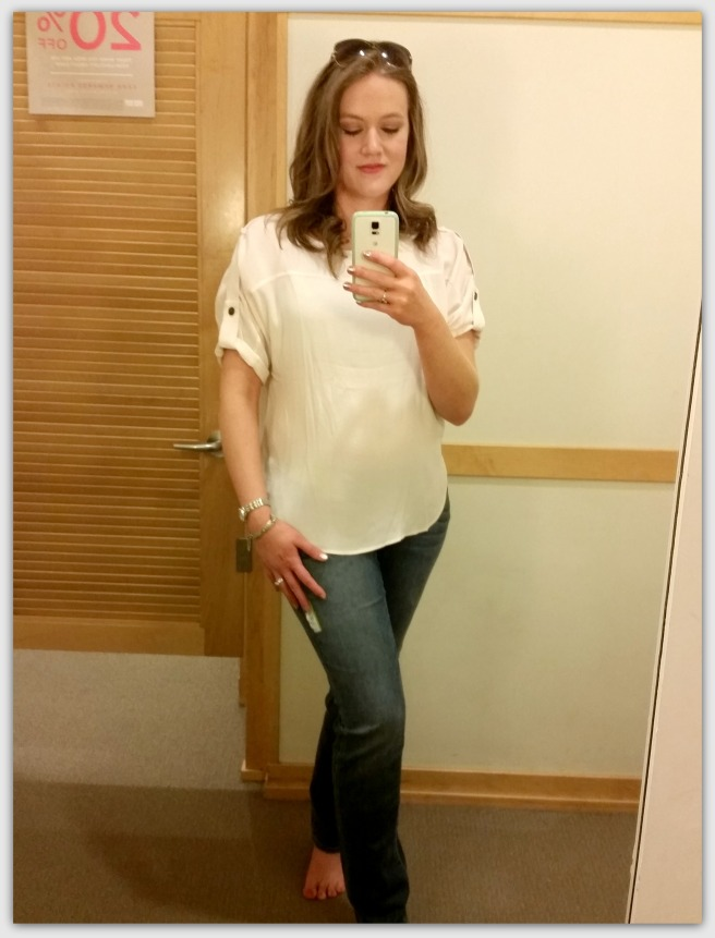 This top (Loft) is great for work or casual wear.  I wore it to work with grey pants and a fabulous necklace!